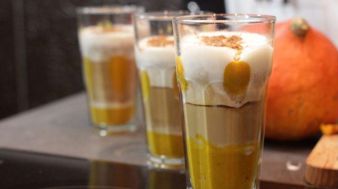 Dyniowe latte macchiato bezglutenowa kuchnia wegańska Atelier Smaku