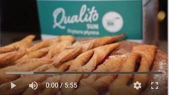 273YT Bezglutenowe i wegańskie faworki z trzcinowym cukrem pudrem